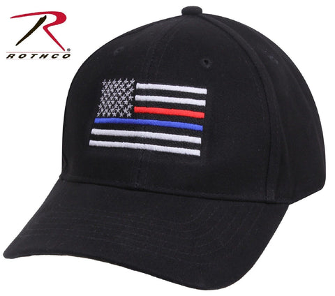 Black Thin Blue Line & Thin Red Line Adjustable Low Profile Baseball Cap Hat