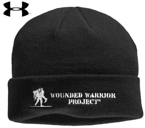 Black Under Armour Wounded Warrior Project Stealth Beanie Winter Hat WWP Ski Cap