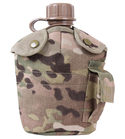 MOLLE Compatible MultiCam Camo One Quart Fleece-Lined Canteen Cover