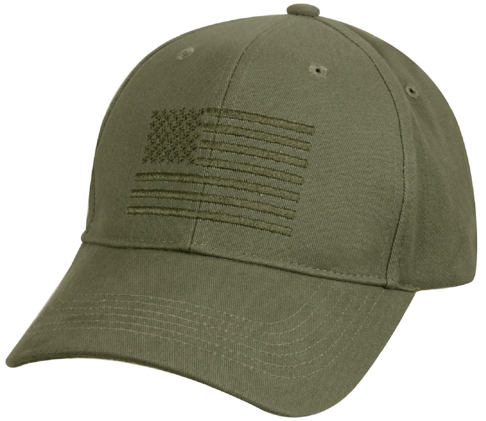 fdbbf481ff4 Mens Rothco Olive Drab Green Embroidered USA American Flag Baseball Hat Cap