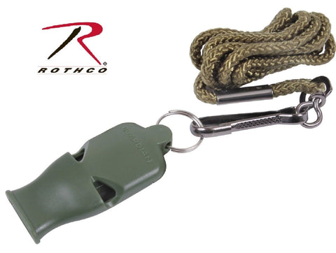 Rothco Olive Drab Green No Ball Safety Whistle w/ Lanyard & Clip