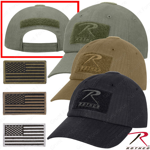 Rip Stop Operator Tactical Cap - Military Style Baseball Hat w/ U.S. Patch