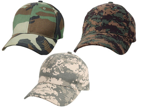 Kids Adjustable Woodland & Digital Camouflage Baseball Cap Hat Boys Low Profile