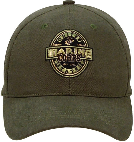 Marine Corps Label - Olive Drab - Black Ink Design Low Profile Baseball Cap