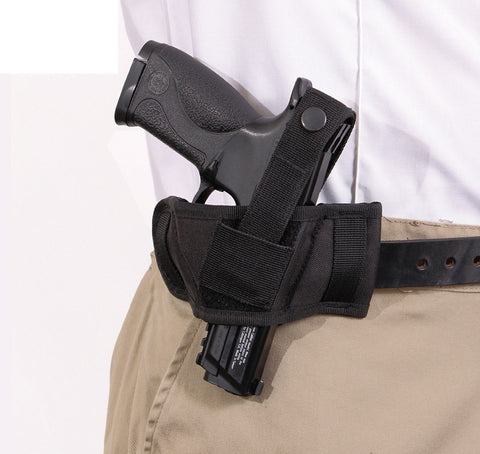 Black Ambidextrous Compact Belt Slide Holster For Most Revolvers & Pistols