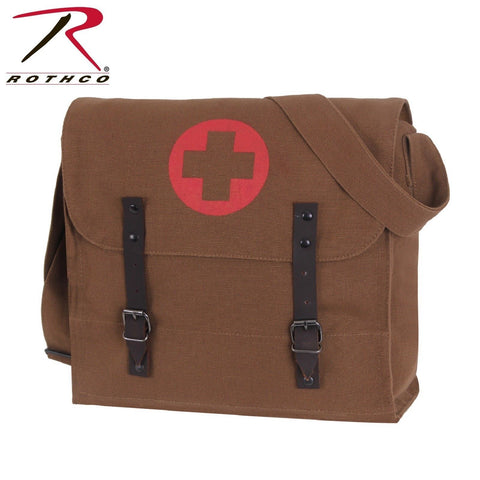 Rothco Brown Vintage Medic Bag With Cross - Military Style Medic Shoulder Bag