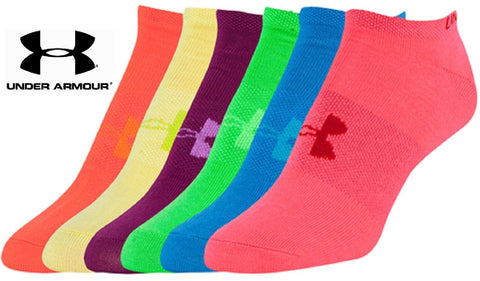 Under Armour Womens No-Show Liner Socks 6 PACK - UA Girls Bright Sock 6-PACK