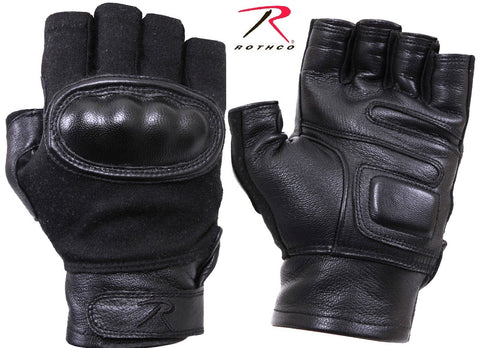 Black Hard Knuckle Fingerless Gloves Mens Tactical Duty