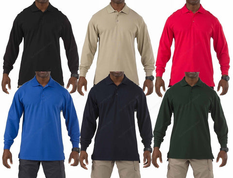 5.11 Tactical Professional Long Sleeve Polo Shirt - Mens Cotton Collared Shirts