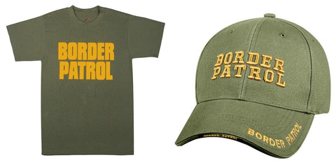 Adult BORDER PATROL Halloween Costume Uniform - OD & Gold Shirt Top & Hat