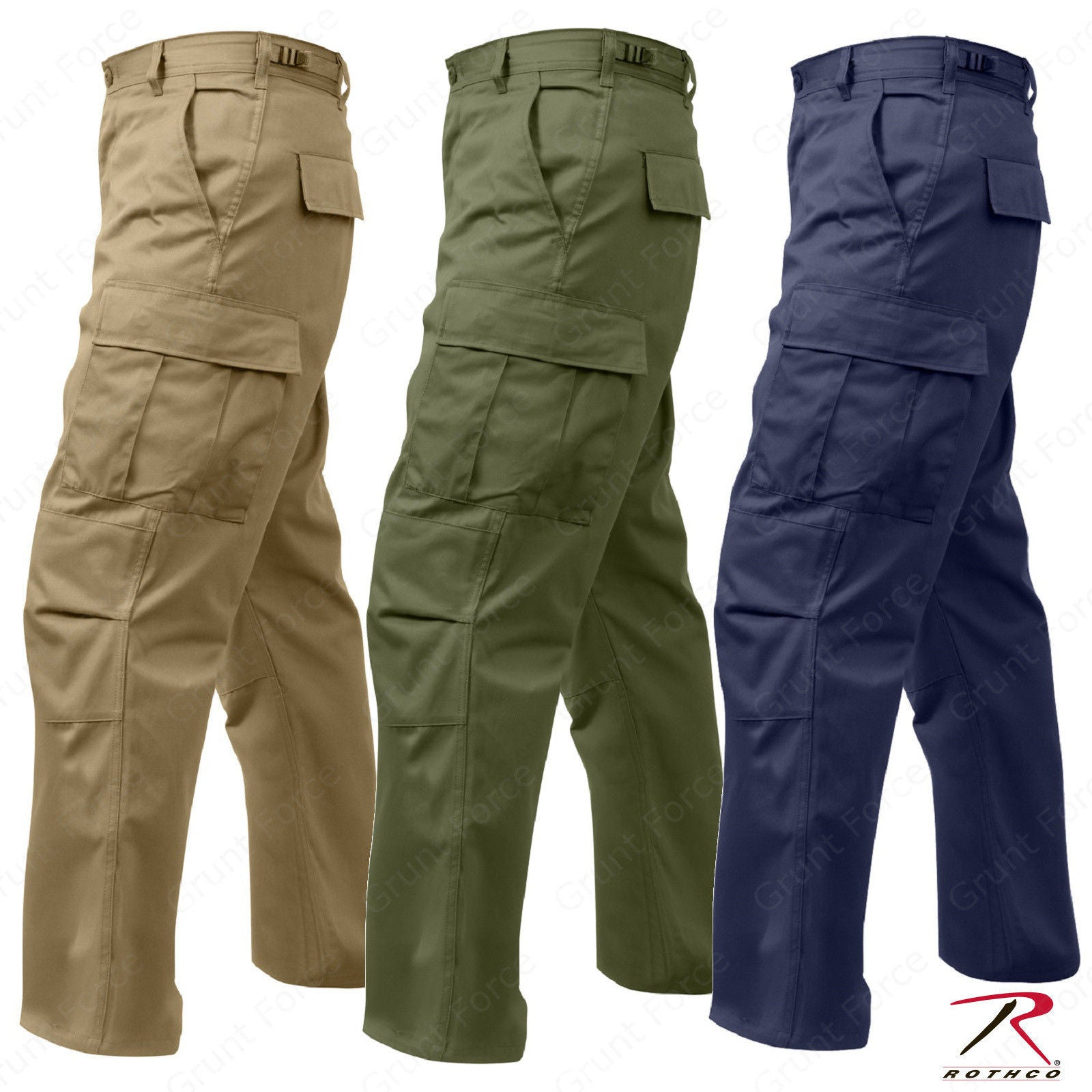 Rothco Relaxed Fit Zipper Fly BDU Cargo Pants - Olive Drab or Khaki or –  Grunt Force 8faf734b4aa