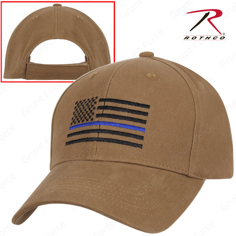 Rothco Coyote Brown Mid-Low Profile Baseball Cap With Thin Blue Line U.S. Flag