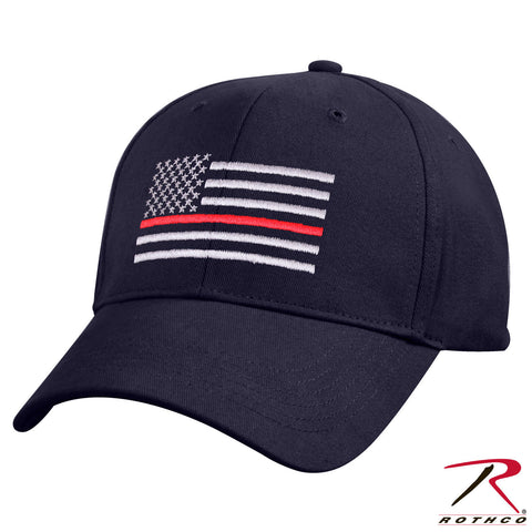 Navy Blue Mid To Low Profile Hat - Embroidered Thin Red Line US Flag Cap Rothco