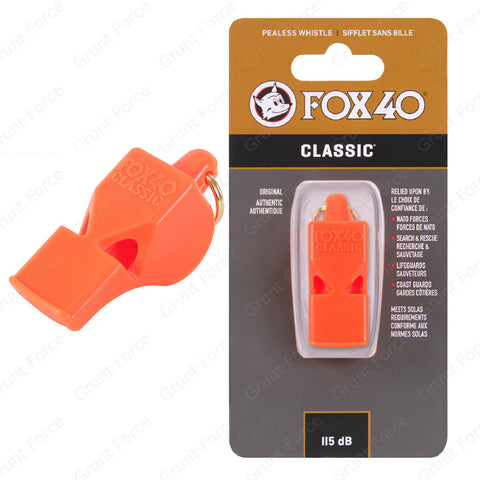 Fox 40 Classic Orange Safety Whistle - 115Db 3-Chamber Pealess Design