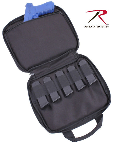 Black Lockable Double Pistol Carry Case w/ Mag Straps - Soft Shooting Range Case