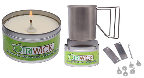 Tri-Wick All Natural 120 Hour Emergency Survival Candle & Stove w/ Wicks