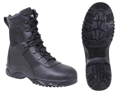 "Men's Black 8"" Side-Zipper Extreme Weather Insulated Tactical Boots Sizes 5 - 15"