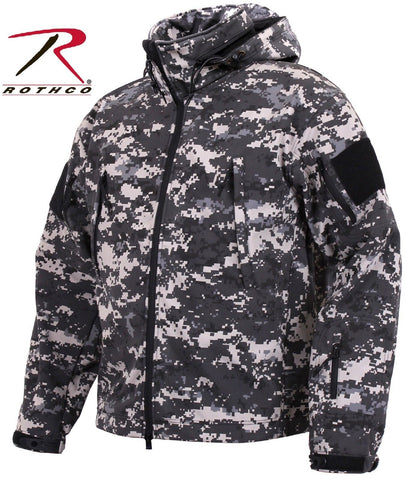 Black & Gray Subdued Urban Digital Special Ops Softshell Tactical Jacket Coat