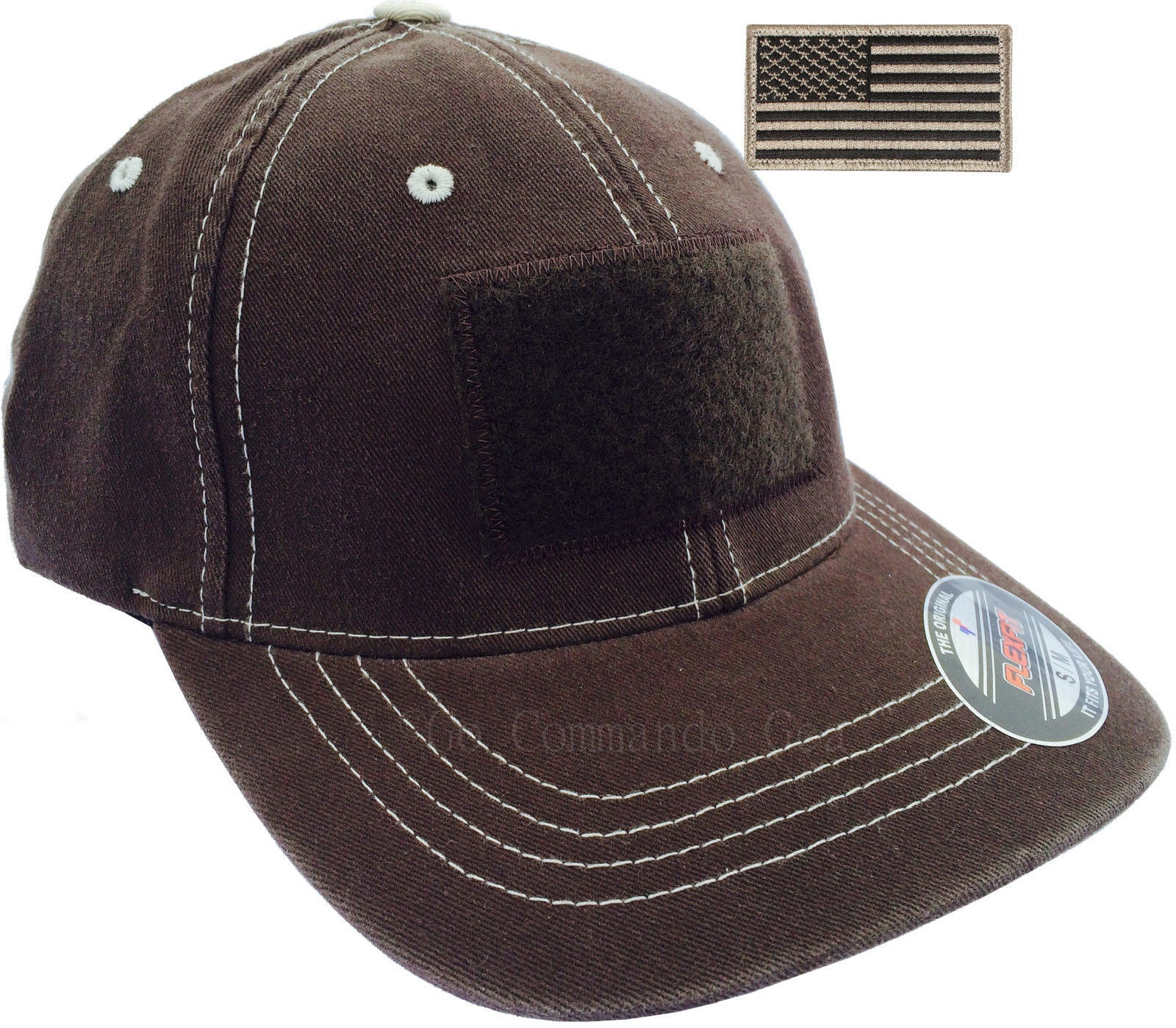 Men s Flexfit Contrast Stitch Tactical Cap - Fitted Velcro Area Hat with  Patch Black Brown ... 3c2f020f482