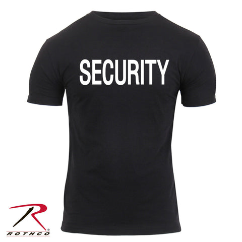Men's Athletic Fit 'SECURITY' T-Shirt - Rothco Black Security Tee