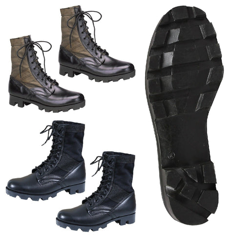 GI Style Military Jungle Boot - Canvas & Nylon W/ Leather Toe & Heel