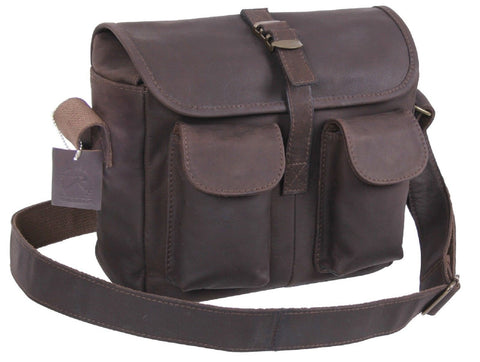 Durable & Stylish Brown Leather Compact Ammo 3-Pocket Shoulder Bag Rothco 22770