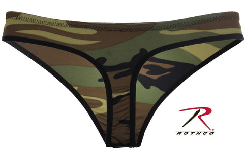 Womens Woodland Camouflage Polyester Thong - Rothco Polyester Camo Thongs