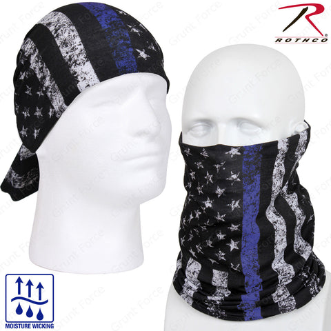 Rothco US Flag Multi-Use Tactical Wrap - Thin Blue Line American Flag Head Wrap