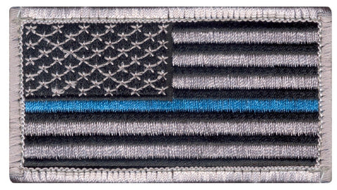 Silver and Black Thin Blue Line Police USA Flag Patch w/ Velcro Type Hook Back