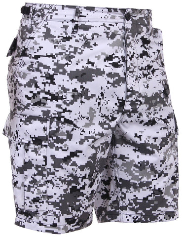 Men's Black & White City Digital Camo BDU Cargo Shorts - S - 3XL