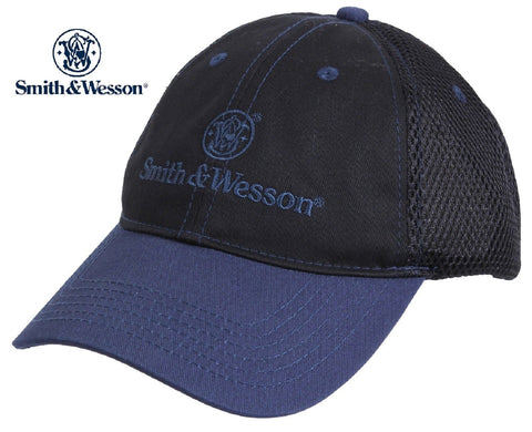 Smith & Wesson Mesh Back Baseball Hat - Black & Blue Adjustable Embroidered Cap