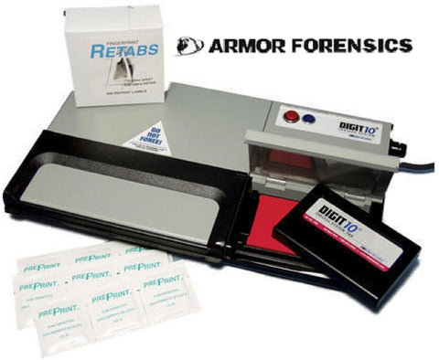 Armor Forensics Portable Digit 10 Inkless Police Finger Print System Kit & Case
