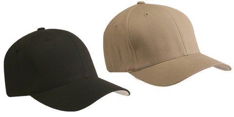 Flexfit Mid Profile Plain Baseball Cap Hat Cotton Fitted S/M or L/XL V-Flexfit