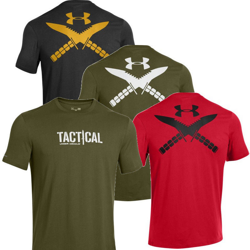 Men 39 s under armour tactical logo t shirt ua cotton for Under armor tactical t shirt