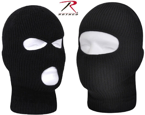 Black One Hole or Three Hold Winter Facemask - Rothco Fine Knit Ski Face Mask