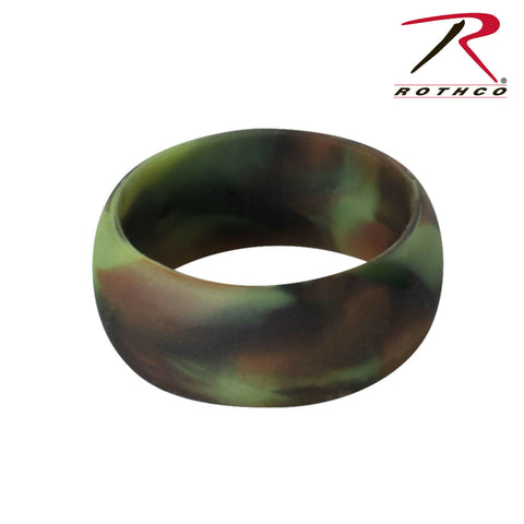 Men's Camouflage Rubber Wedding Ring - Rothco Camo Silicone Band Sizes 8-13