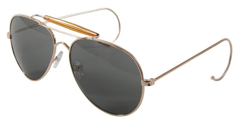 Military Air Force Pilot Style Sunglasses - Rothco Gold Frame Sun Glasses & Case