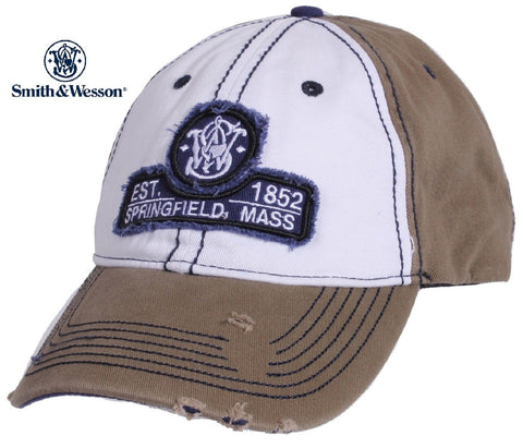 Smith & Wesson Distressed Baseball Hat - Est. 1852 Springfield, Mass. Frayed Cap