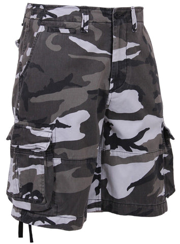 Men's Vintage City Camouflage Utility Cargo Shorts - Black and White Camo