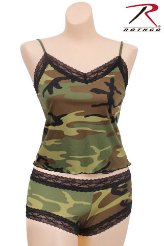 Womens Woodland Camo Lace Trim Camisole or Boy Shorts Lingerie Underwear