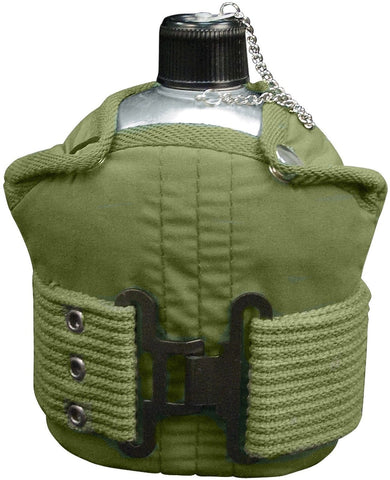 GI Type 1 QT Aluminum Canteen & Pistol Belt Kit - Olive Drab Cover & Pistol Belt