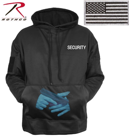 Black SECURITY Concealed Carry Hoodie Sweatshirt & USA Flag Patch Sweat Shirt