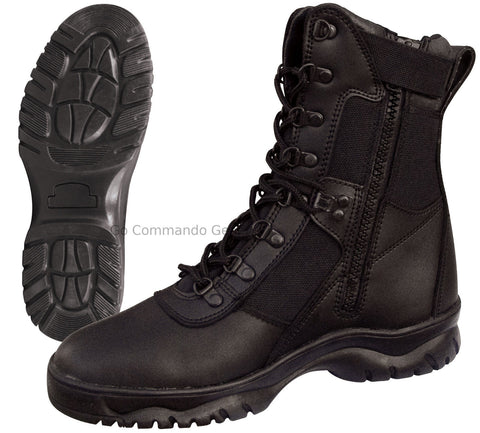 "Forced Entry 8"" Black Tactical Boot W/ Side Zipper - Military Police SWAT Boots"