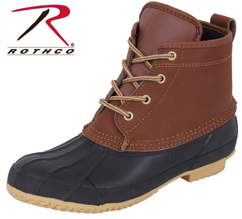 "Waterproof Leather Duck Boots - 6"" Brown & Black All Weather Rain Boots"