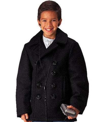 Kids Black Peacoat - Boys US Navy Type Peacoat Jacket Wool Blend XS - XL