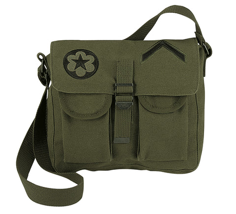 Hippy Style Shoulder Bag - Trendy Olive Drab Canvas Military Bags