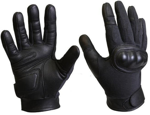 Cut Resistant Hard Knuckle Tactical Black Glove Leather Palm