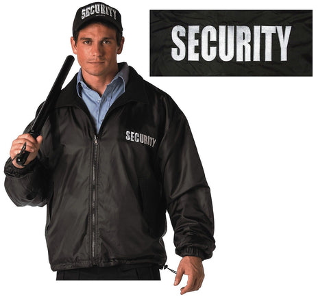 Black SECURITY Jacket - Reversible Waterproof Embroidered Front & Back Coat S-4X