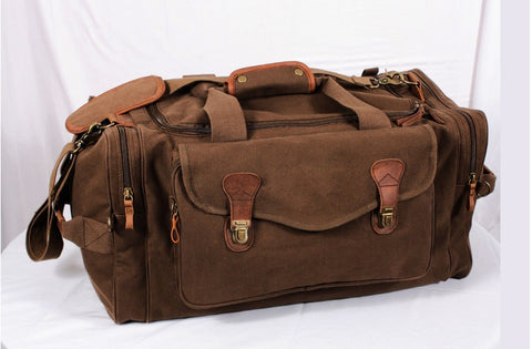 Brown Weekender Bag w/ Leather Accents - Stylish Overnight Travel Bag