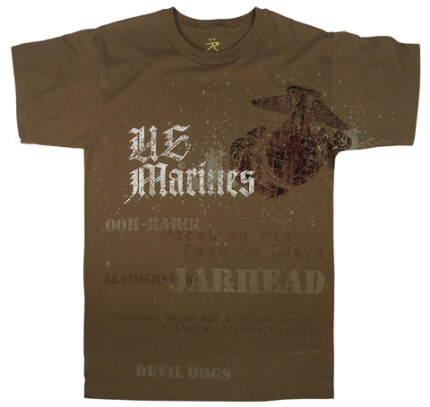 Vintage Brown U.S. Marines Globe and Anchor T-Shirt